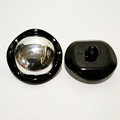Button for clothes 30mm black plastic