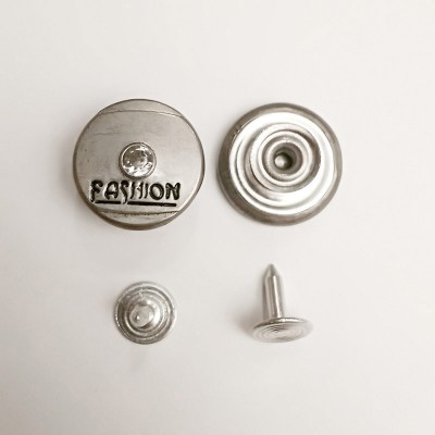 Button jeans 20mm faded nickel