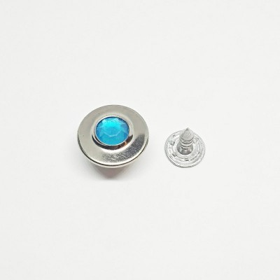Button jeans 17mm nickel with blue stone
